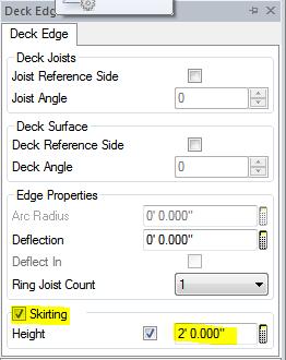 Deck Edge Skirting setting
